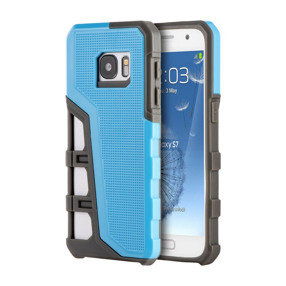 Insten Hyper Sport Dual Layer Hybrid Shockproof Case Cover For Samsung Galaxy S7 - Light Blue/Gray