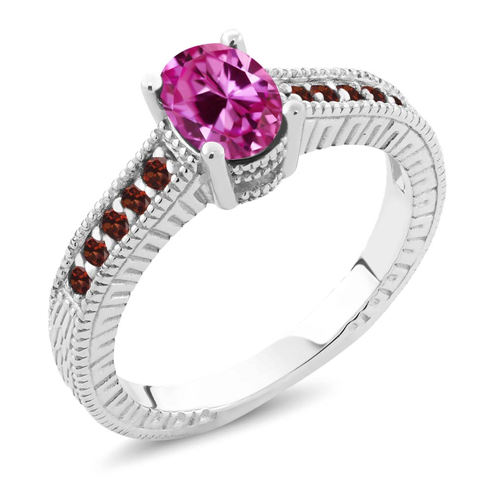 1.40 Ct Oval Pink Created Sapphire Red Garnet 14K White Gold Engagement Ring by
