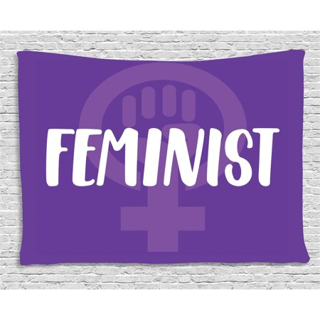 Symbol For Venus (Feminist Tapestry, Feminist Hand-Drawn Lettering About Women and Girls with Venus Symbol, Wall Hanging for Bedroom Living Room Dorm Decor, 60W X 40L Inches, Violet White and Purple, by)
