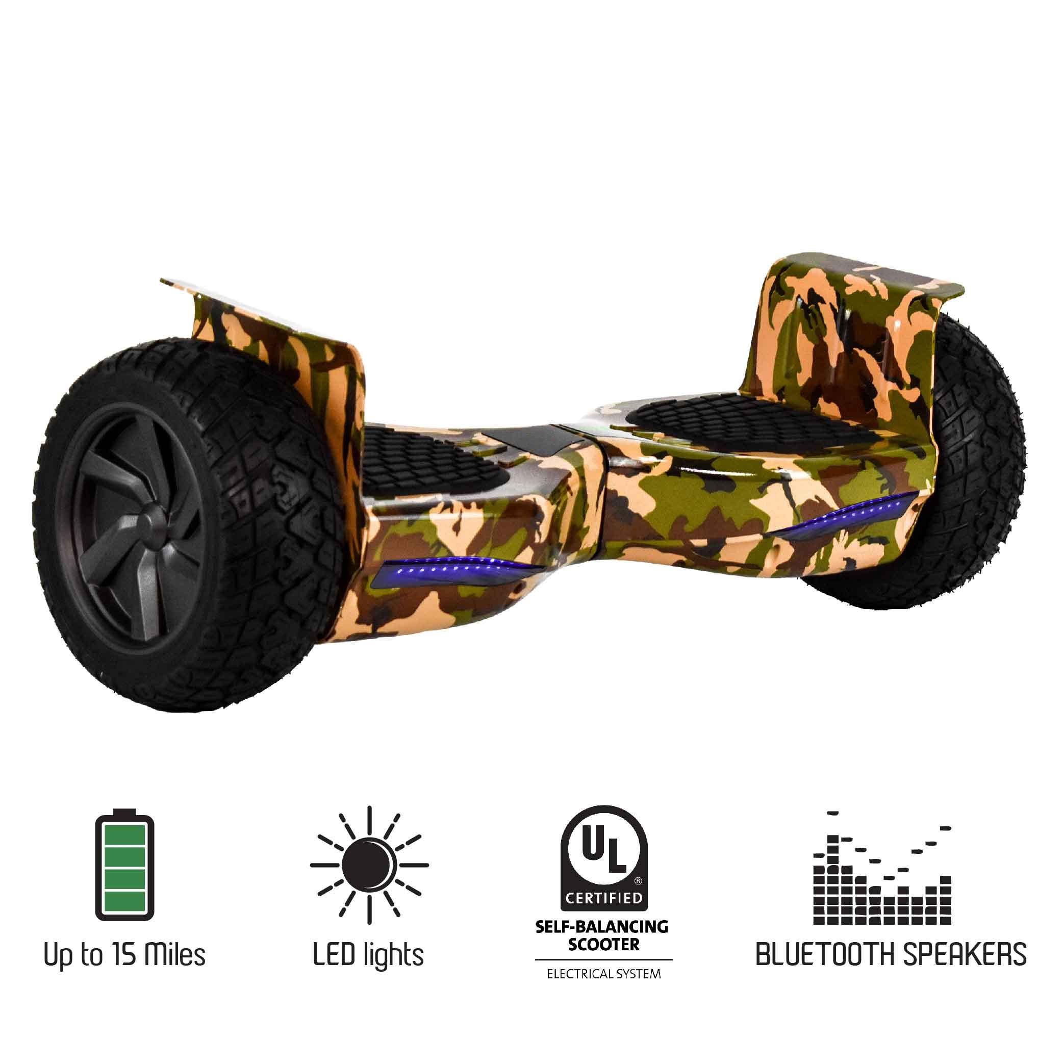 """Hoveroid 8.5"""" All Terrain Bluetooth Hoverboard - ARMY GREEN CAMO UL2272 Listed Safe Scooter"""