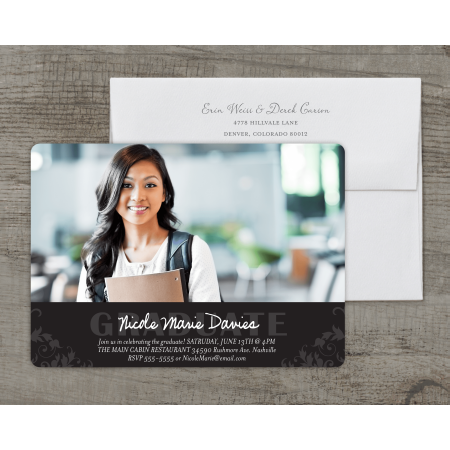 Scrolled Flat - Personalized Graduation Announcement - Blooming Scroll - 5 x 7 Flat Deluxe