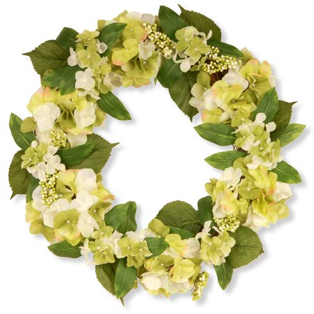 "National Tree Artificial 24"" Garden Accents Hydrangea Wreath"
