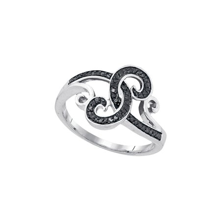 - Sterling Silver Womens Round Black Colored Diamond Curl Swirl Cocktail Ring 1/5 Cttw