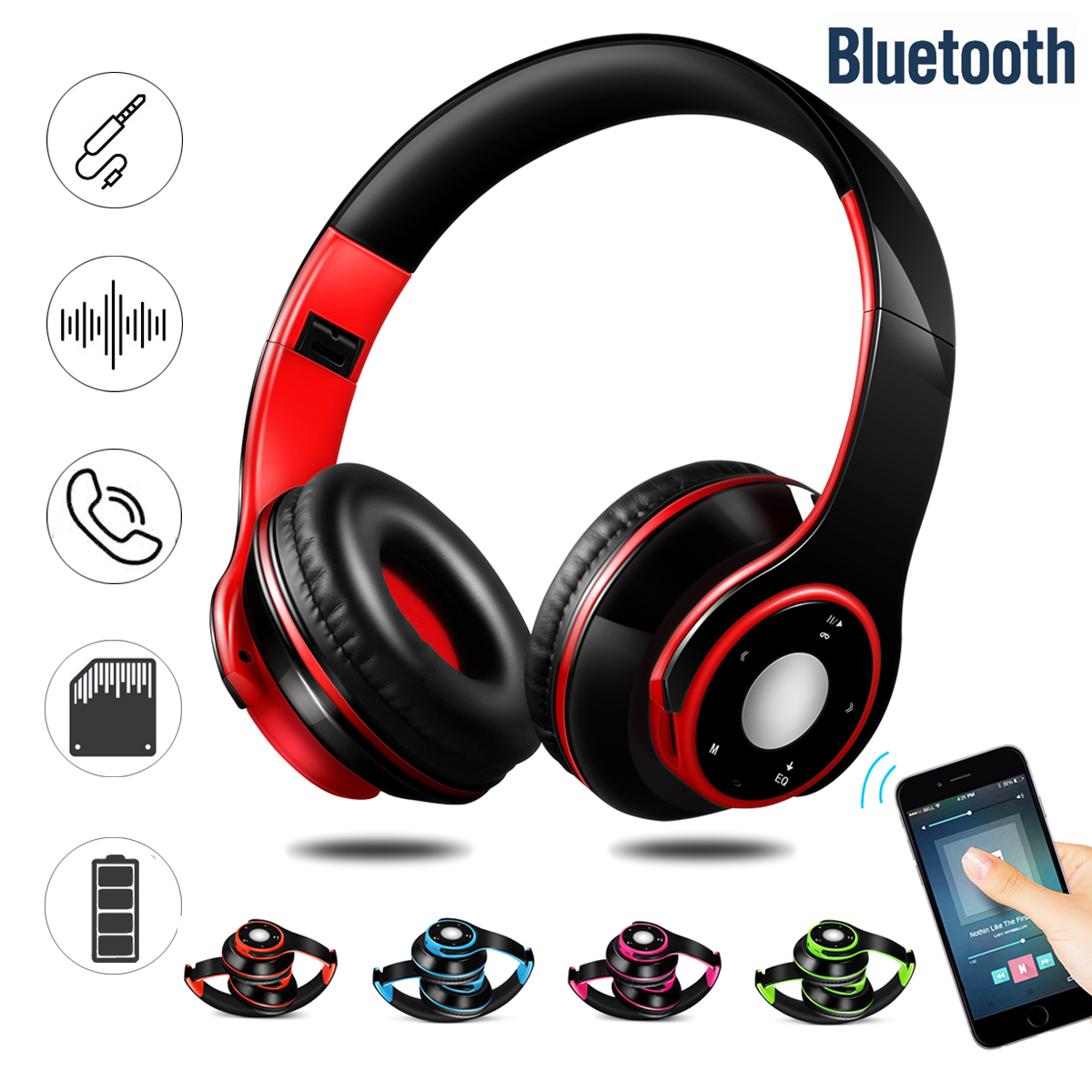Portable Wireless Hifi Stereo Foldable Bluetooth Sports Headphone Headset Mic SD AUX
