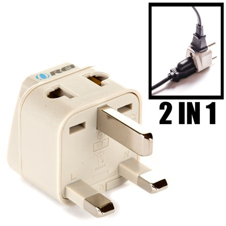 OREI Grounded Universal 2 in 1 Plug Adapter Type G for UK, Hong Kong, Singapore & more - High Quality - CE Certified - RoHS Compliant WP-G-GN