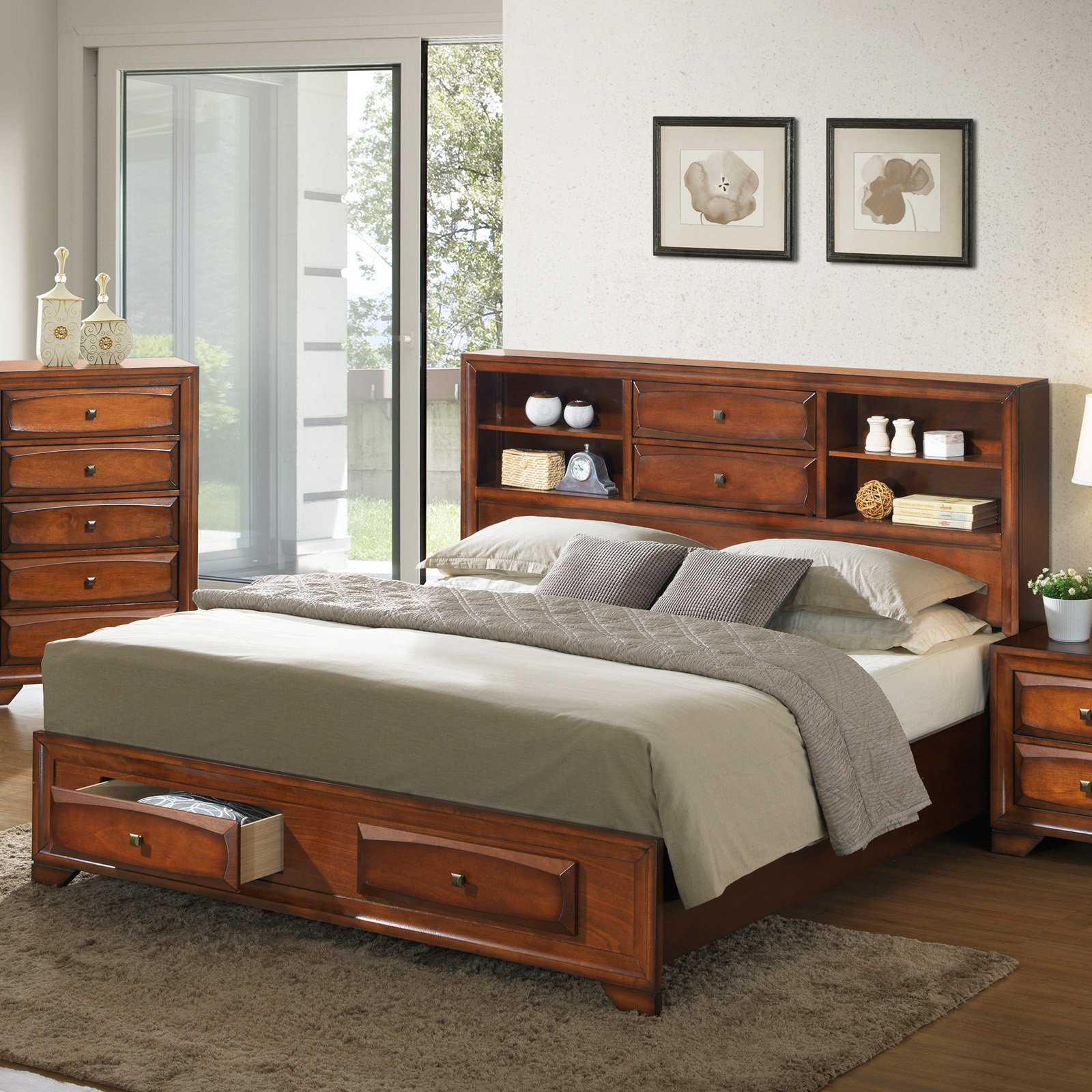 Roundhill Furniture Oakland Asger Storage Platform Bed
