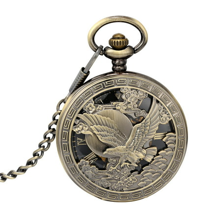 Mechanical Pocket Watch Black Dial Eagles Pattern Roman Numeral Skeleton Dress Xmas Fathers Day Gift
