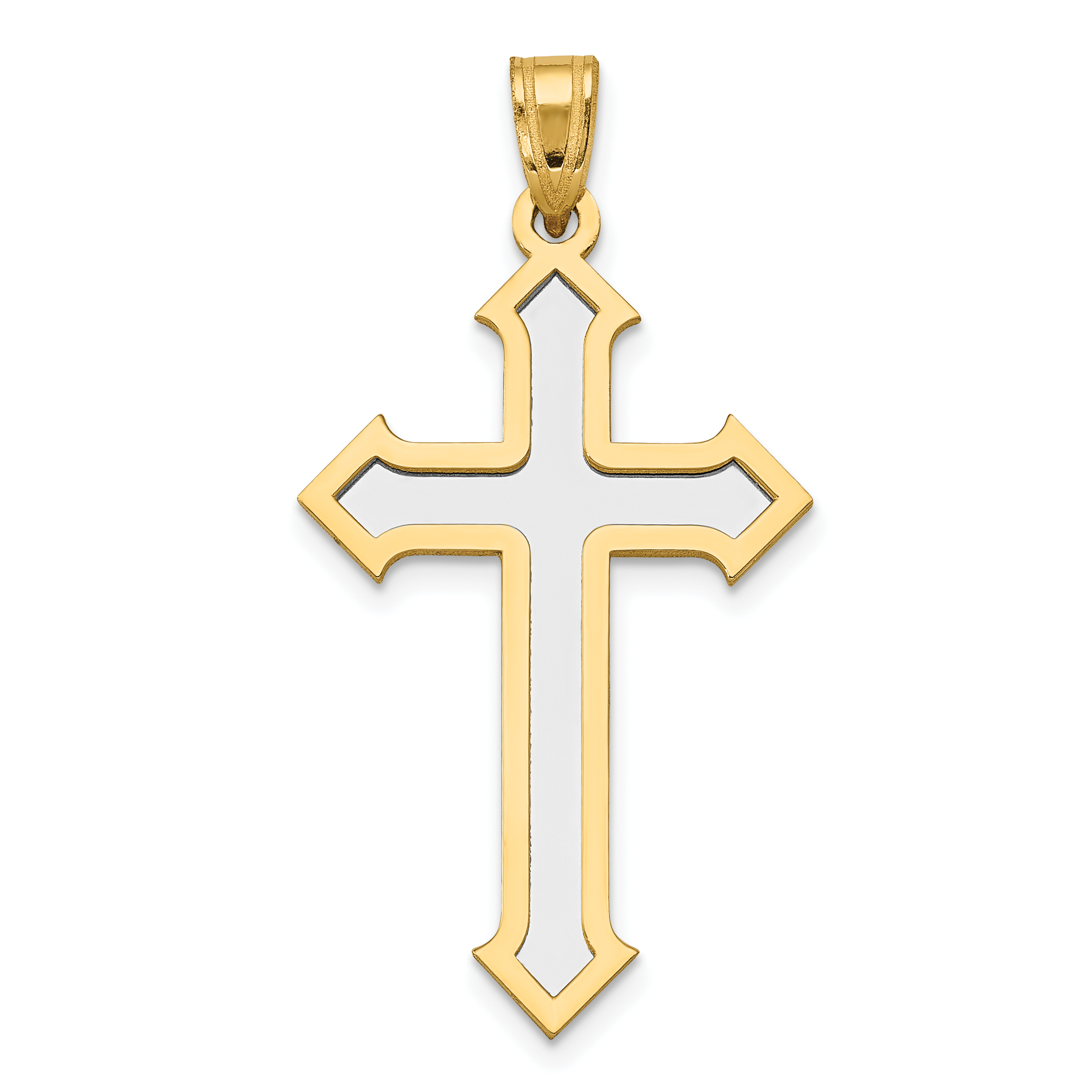 14k Yellow and White Gold Two-tone Passion Cross Pendant Length 36mm - image 2 de 2