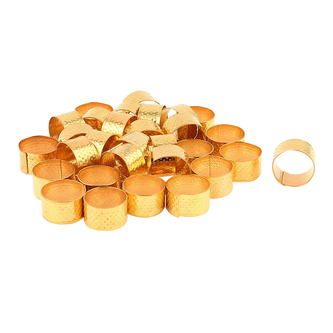 Unique Bargains 30 Pcs 21mm Diameter Gold Tone Metal Ring Reeded Thimble for Tailoring Sewing