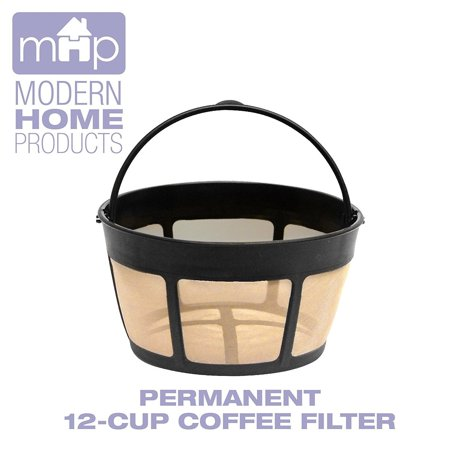 12 Cup Gold Tone Filter - Permanent 12-Cup Basket Shape Gold Tone Coffee Filter Fits All Coffee Makers Using 8-12 Cup Basket Filters
