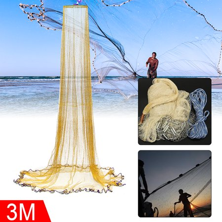 - Grtsunsea 10FT/12FT 3X4M Fishing Net Nylon Monofilament Mesh Easy Throw Hand Casting with Sinker