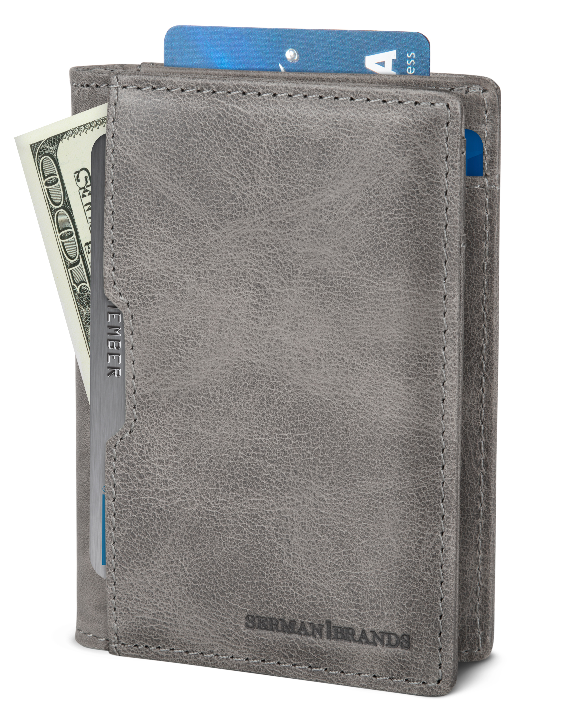 Front Pocket Wallets for Men RFID Blocking Slim Bifold Leather Minimalist Card Case Pabin