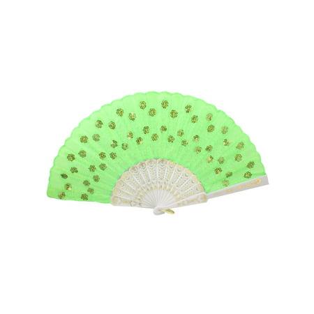 Unique Bargains Embroidered Sequin Flower Decor Plastic Ribs Hand Fan - Sequin Hand Fans