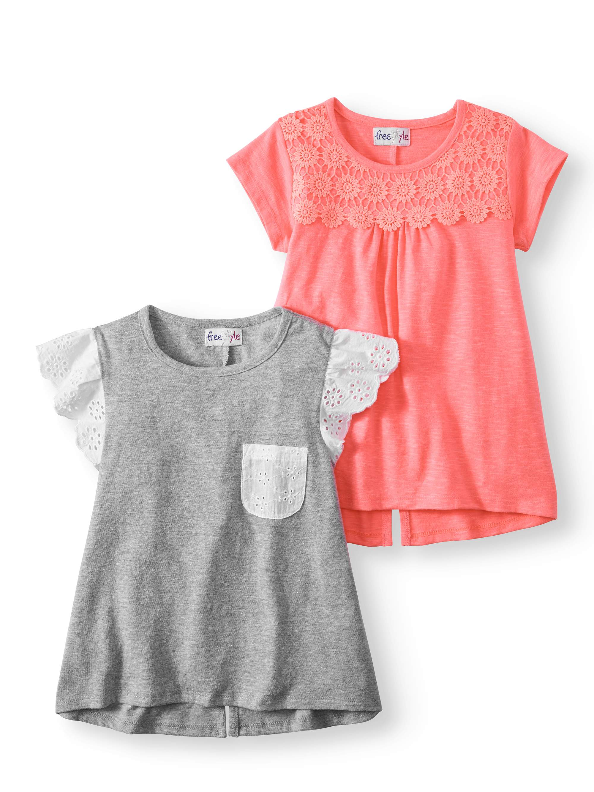 Girls' Lace and Crochet T-shirt 2-Pack Set