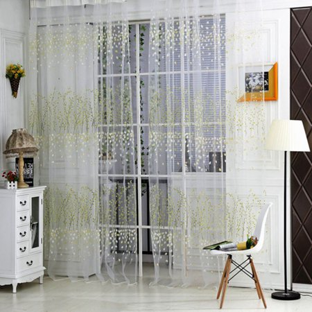 Beautiful Shades - Beautiful Window Screening Drapes Panels Sheer Voile Tulle Wintersweet Pattern Shade Curtain 1*2M(1 Panel) - Green