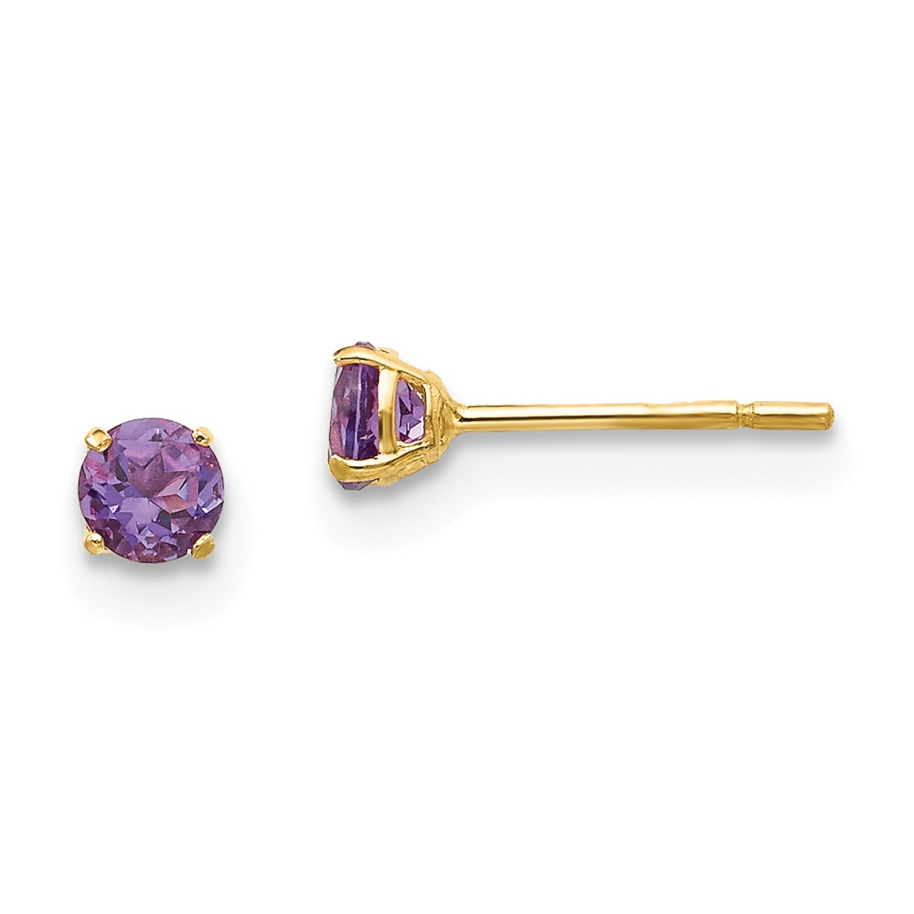 14k Yellow Gold Childs Round Amethyst 3mm Post Earrings w/ Gift Box.