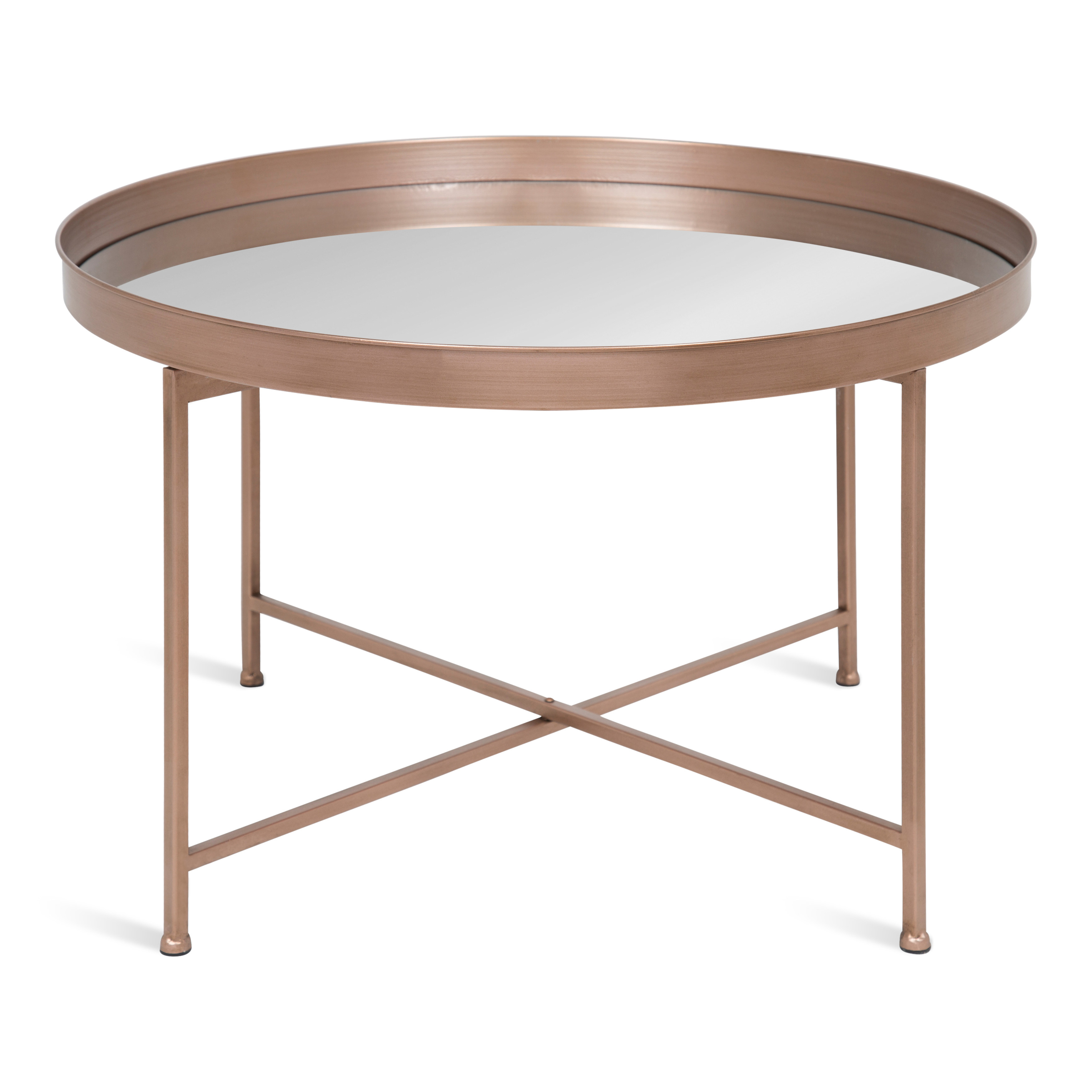 Kate And Laurel Celia Round Metal Foldable Coffee Table With Mirrored Tray Top Rose Gold Walmart Com Walmart Com