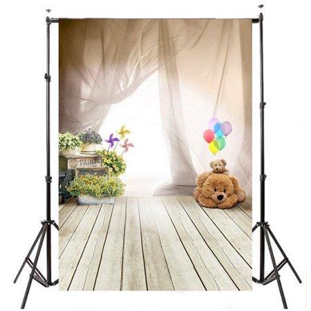 3x5FT Wooden Floor Backdrop Photography Background Vinyl Fabric Studio Props Children's Day Ballon Bear Kids Children - Diy Photography Props