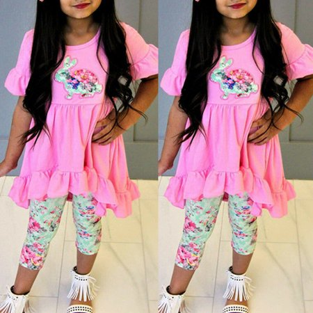 3pcs Toddler Kids Baby Girl Easter Top Dress Floral Pants Leggings Outfits Set Clothes For 2-7T](Easter Chick Baby Outfit)