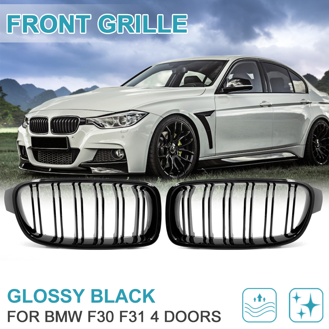 Glossy Black Car Front Bumper Kidney Grille for 12-17  F30 F31 4 Doors - image 5 de 8