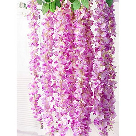E Joy 36 Feet Artificial Wisteria Vine Ratta Silk Hanging Flower