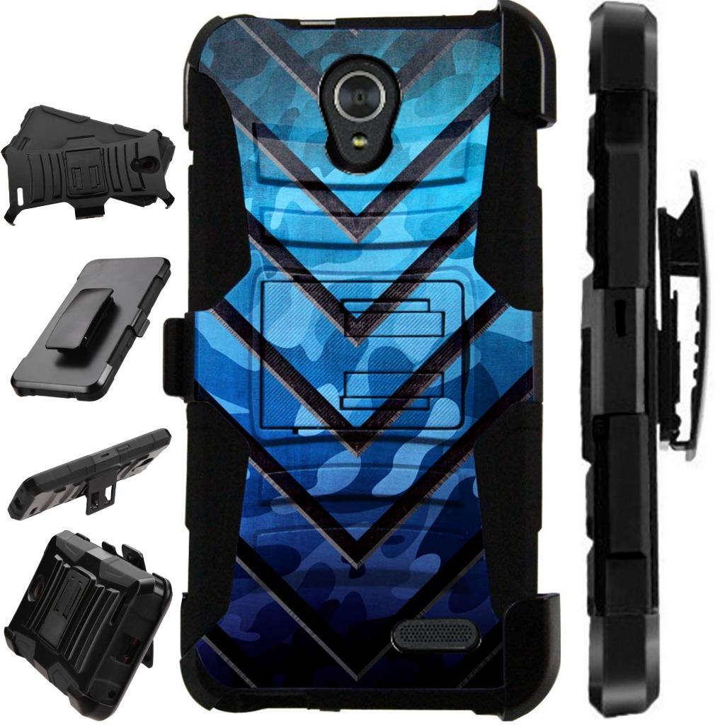 For ZTE Maven 3 / ZTE Prelude 4G LTE 2017 / ZTE Overture 3 Case Dual Duty Hybrid Armor Dual Layer Cover Kick Stand Rugged LuxGuard Holster (Metal V Blue)