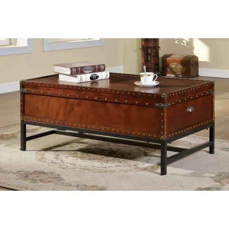 Furniture of America Millard Trunk-Style Coffee Table, Cherry