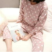 Women Pajama Set Dot Print Long Sleeve Cotton Tops Pants Trouser Sleepwear