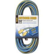 Prime Wire 50-Foot Kaleidoscope Heavy Duty Outdoor Extension Cord, Blue and Yellow