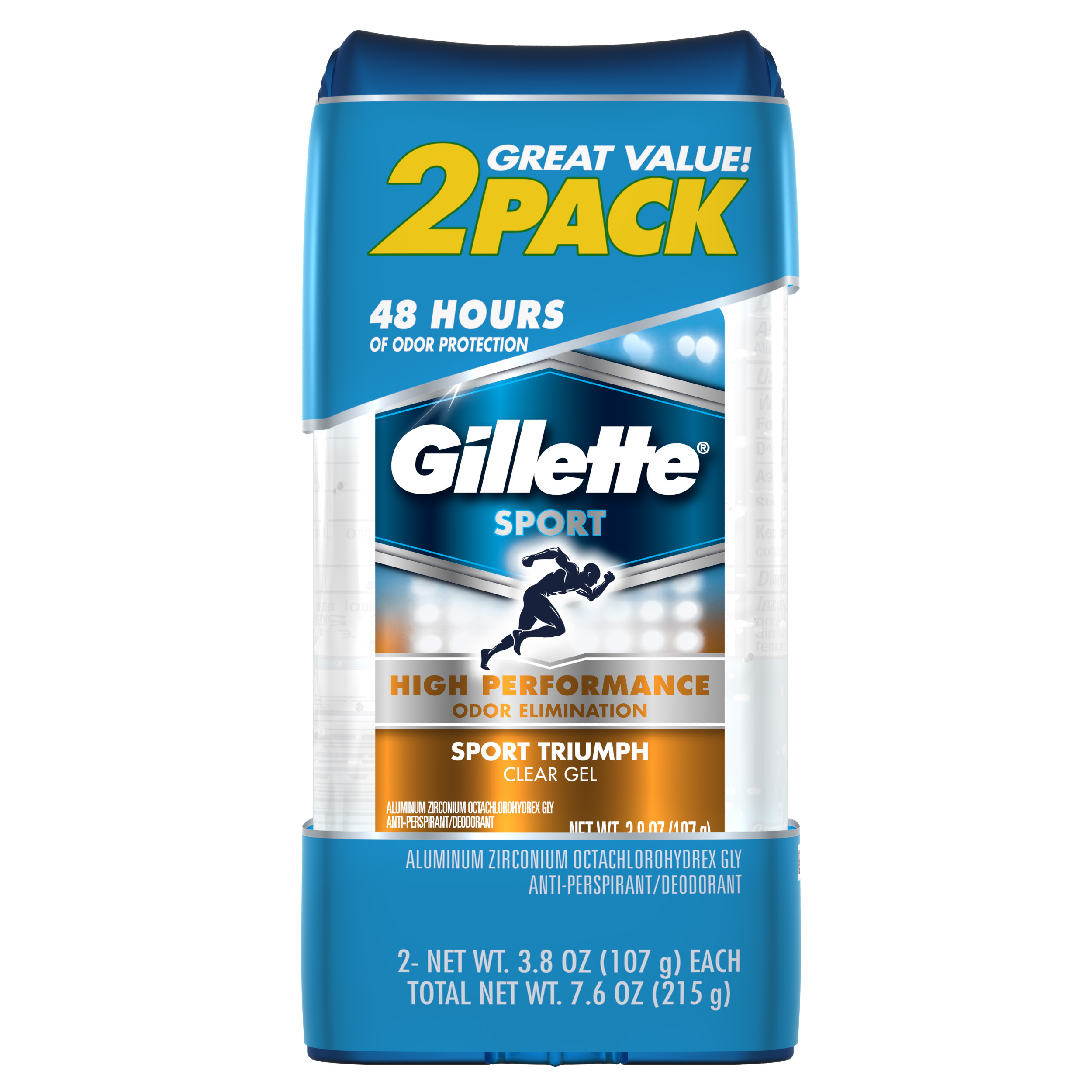 Gillette Clear Gel Sport Triumph Antiperspirant and Deodorant 2 count 3.8 oz