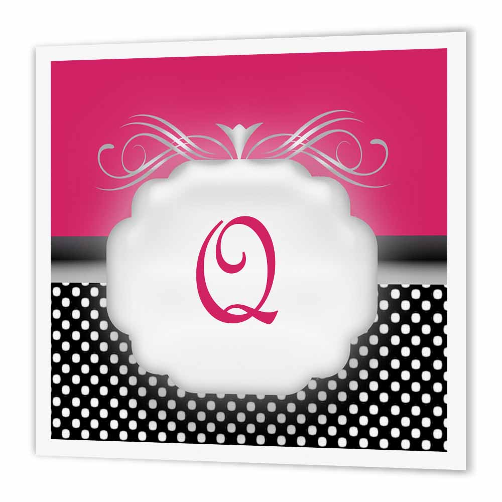 3dRose Elegant Pink with Black and White Polka Dot Monogram Letter Q, Iron On Heat Transfer, 8 by 8-inch, For White Material