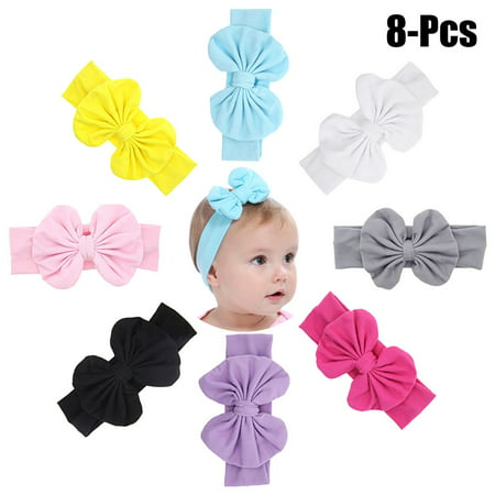 8PCS Baby Hairband,Justdolife Solid Color Cute Bowknot Baby Elastic Headband Infant Headwrap Bow Headwear for Baby Girls Toddler Kids ()