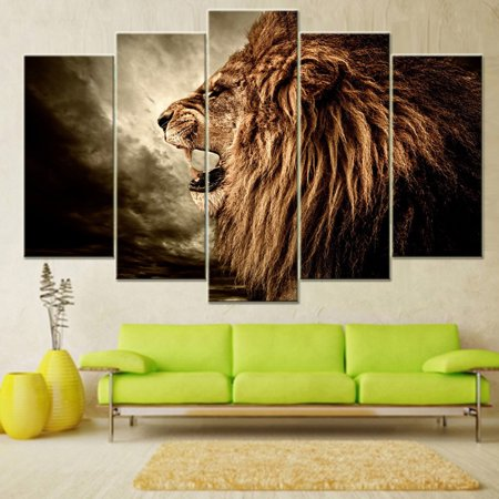 Moderna 5Pcs Unframed Roaring Lion Painting Modern Art Wall Pictures Home Room DIY Decor