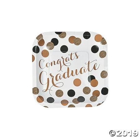 Black & Gold Graduation Dessert Plates](Graduation Plates)
