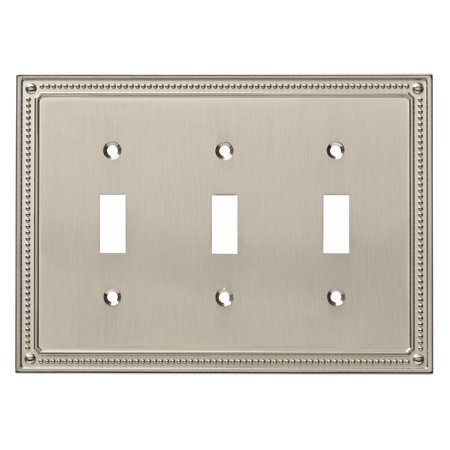 Franklin Brass Classic Beaded Triple Switch Wall Plate in Satin (2 Triple Switchplate Cover)