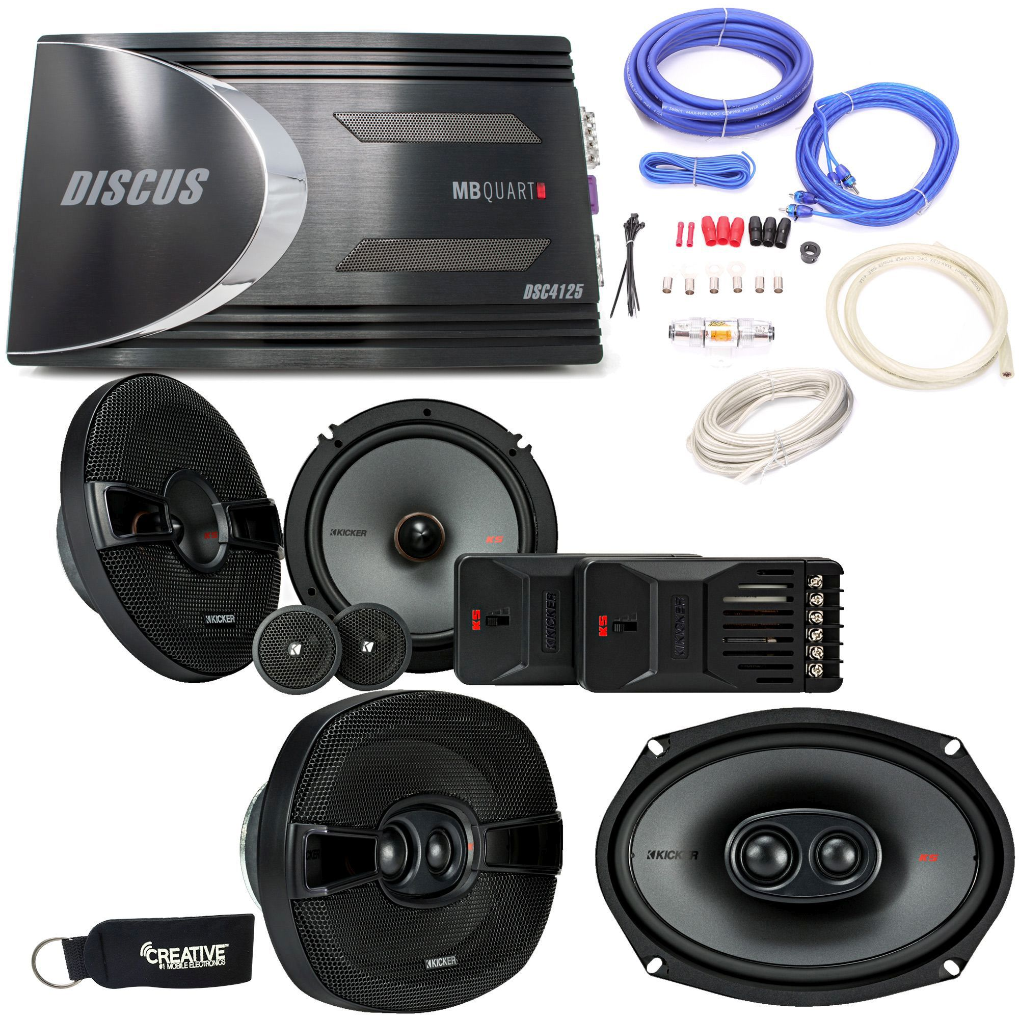 "Kicker - 44KSS6504 6.5"" Component Speakers, 44KSC6904 6x9"" Speakers, a MB Quart DSC-4125 4-Channel Amp & Wire Kit"