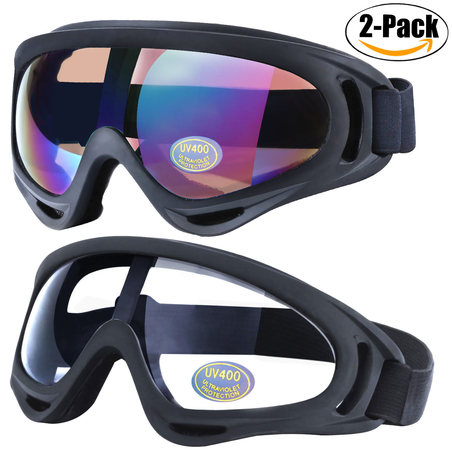 Outgeek 2Pcs Unisex Professional Ski Snow Snowboard Goggles Windproof Adjustable UV Protective Eyewear for Outdoor... by Outgeek