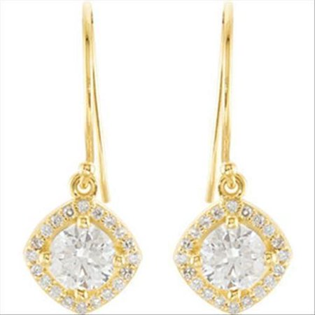 Harry Chad Enterprises 37887 Halo-Styled Dangle Earring with Cushion Frame - 14K Yellow - image 1 of 1