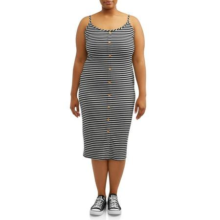 Eye Candy Juniors' Plus Size Ribbed Spaghetti Strap Midi Dress