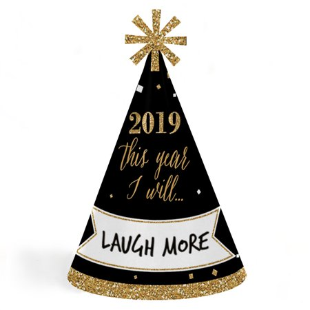 New Year's Eve - Gold - 2019 Cone New Years Eve Resolution Party Hats for Kids and Adults - Set of 8 (Standard Size)