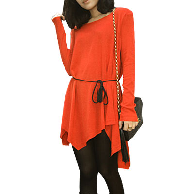 1168 Woman Orange Irregular Hem Pad Shoulder Knitwear Tunic Shirt - image 1 de 1