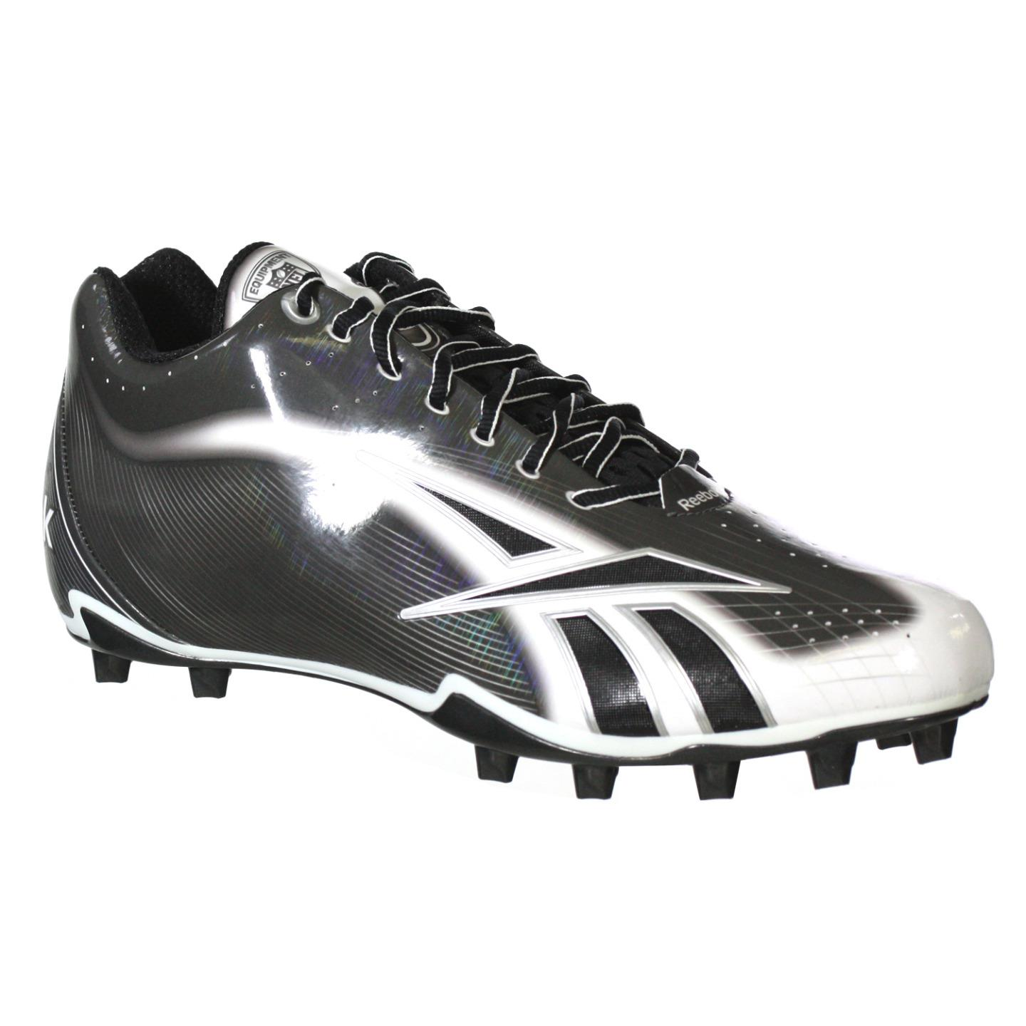 REEBOK NFL BURNER SPD LT 5/8 M4 MENS FOOTBALL CLEATS BLACK, WHITE, SILVER 12.5
