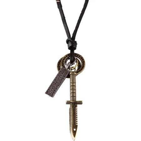 - BodyJ4You® Mens Chain Vintage Swords Pendant with Adjustable Leather Necklace Chain