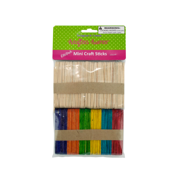 Multi-Colored &Amp; Natural Mini Craft Sticks (Pack Of 25)