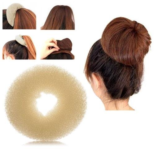 Zodaca Fashion Women Donut Hair Bun up do Ring Shaper Hair Ring Styler Maker Blonde (L) - Beige