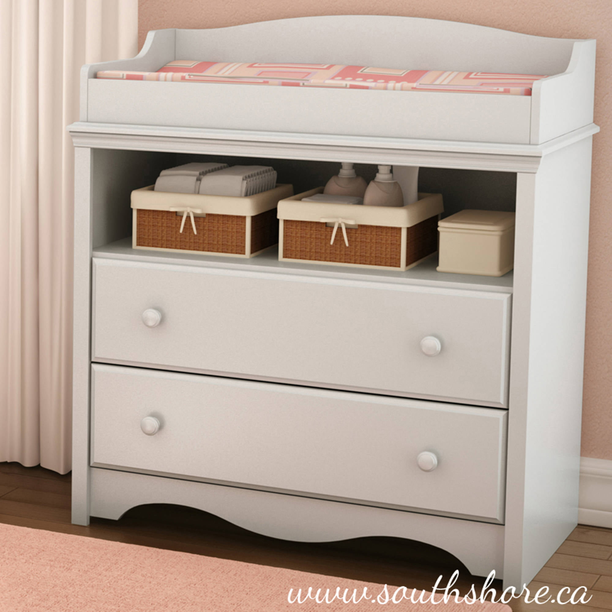Costway Baby Changing Table Nursery Diaper Station Dresser Infant Storage 3  Drawer White   Walmart.com
