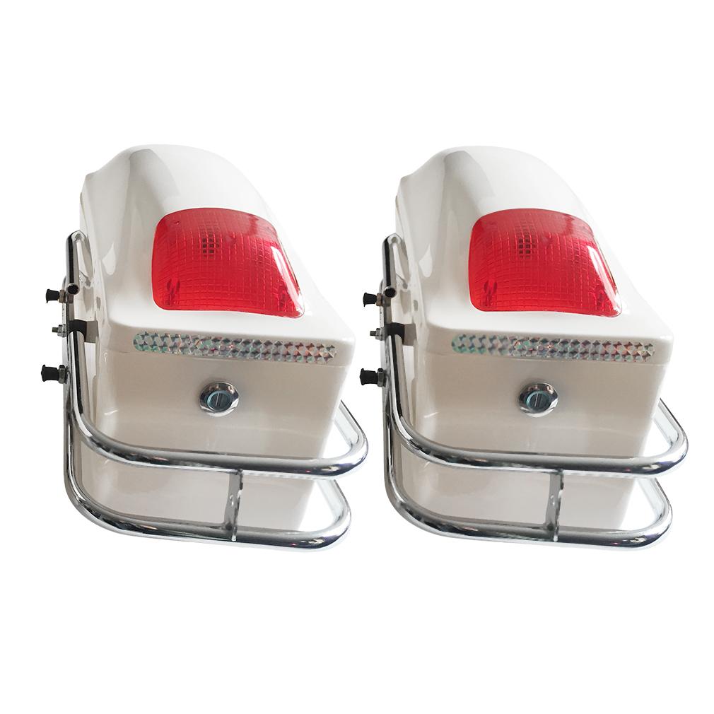 White Motorcycle Hard Saddlebag Trunk Bag Luggage New Tai...