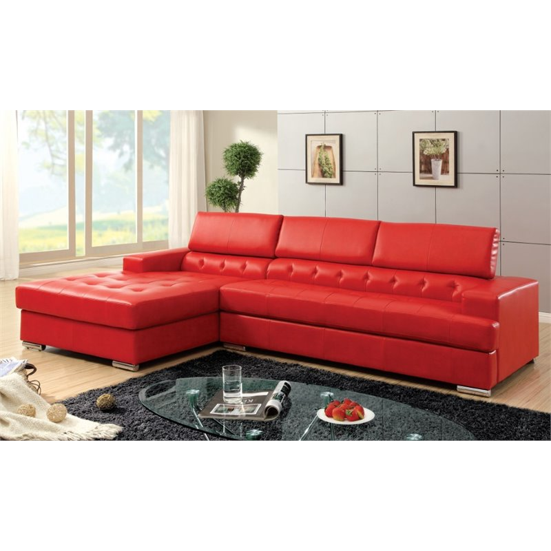 Furniture of America Contreras Leatherette Sectional in Red