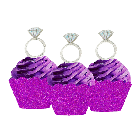 12pk Diamond Shaped Ring Wedding Bridal Shower Cupcake Toppers w. Purple Glitter Wrappers