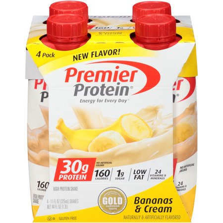 Premier Protein Shake, Bananas & Cream, 30g Protein, 4